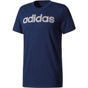 adidas ESS LINEAR KNITTING REGULAR TEE tmavě modrá S - Pánské tričko