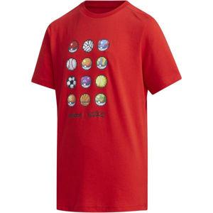 adidas YB PKM TEE červená 164 - Chlapecké triko
