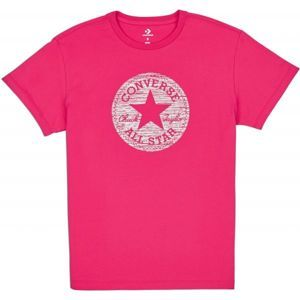 Converse PRECIOUS METAL CHUCK PATCH EASY CREW TEE růžová S - Dámské triko