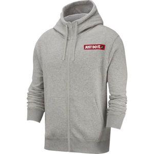 Nike NSW HOODIE FZ FLC BSTR M šedá M - Pánská mikina