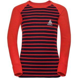 Odlo SUW KIDS TOP L/S CREW NECK ACTIVE WARM červená 128 - Dětské tričko s dlouhým rukávem