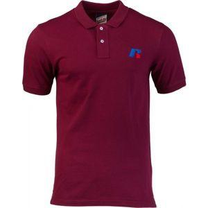 Russell Athletic CLASSIC POLO WITH SLANTED R SATINE EMBROIDERY vínová S - Pánské polo tričko