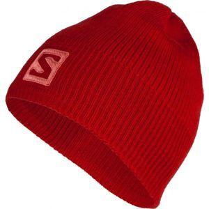 Salomon LOGO BEANIE červená  - Zimní čepice